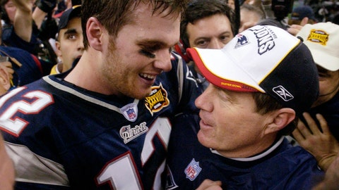 <p>               FILE - This Feb. 1, 2004 file photo shows New England Patriots quarterback Tom Brady and head coach Bill Belichick embracing after defeating the Carolina Panthers 32-29 in Super Bowl XXXVIII in Houston. Belichick became Patriots head coach in 2000 and drafted a skinny quarterback from Michigan with the 199th pick. The following season, the pair begin their run as the greatest quarterback-coach duo in NFL history by winning the first of their half dozen Super Bowls together. (AP Photo/David J. Phillip, File)             </p>