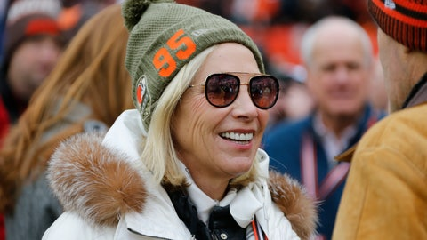 <p>               Cleveland Browns co-owner Dee Haslam is shown before an NFL football game between the Miami Dolphins and the Cleveland Browns, Sunday, Nov. 24, 2019, in Cleveland. (AP Photo/Ron Schwane)             </p>