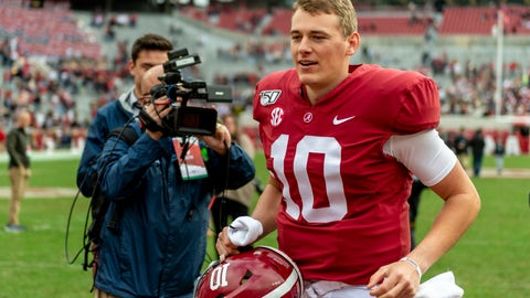 <p>               Alabama quarterback Mac Jones (10) jogs off the field after an NCAA college football game against Western Carolina, Saturday, Nov. 23, 2019, in Tuscaloosa, Ala. (AP Photo/Vasha Hunt)             </p>