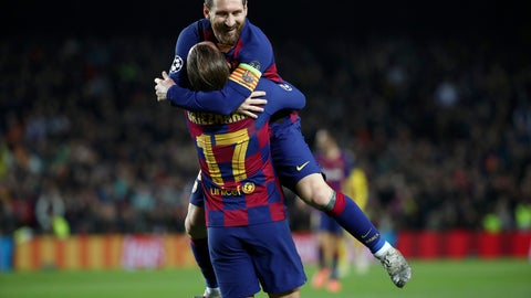 <p>               Barcelona's Antoine Griezmann celebrates with teammate Lionel Messi, top, after scoring his side's third goal during a Champions League group F soccer match between Barcelona and Dortmund at the Camp Nou stadium in Barcelona, Spain, Wednesday, Nov. 27, 2019. (AP Photo/Emilio Morenatti)             </p>