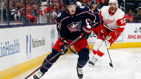 <p>               Columbus Blue Jackets forward Josh Anderson, left, controls the puck in front of Detroit Red Wings defenseman Jonathan Ericsson, of Sweden, during the second period of an NHL hockey game in Columbus, Ohio, Thursday, Nov. 21, 2019. (AP Photo/Paul Vernon)             </p>