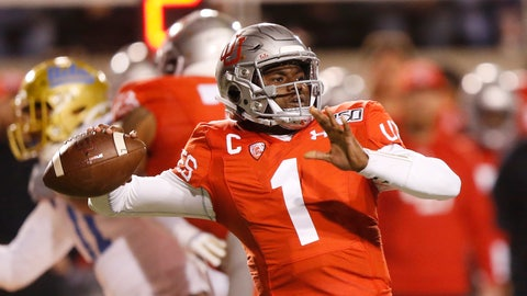 <p>               Utah quarterback Tyler Huntley (1) passes the ball against UCLA in the first half during an NCAA college football game Saturday, Nov. 16, 2019, in Salt Lake City. (AP Photo/Rick Bowmer)             </p>