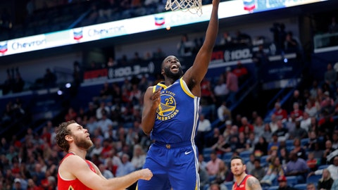 <p>               Golden State Warriors forward Draymond Green (23) goes to the basket over New Orleans Pelicans forward Nicolo Melli, left, in the first half of an NBA basketball game in New Orleans, Monday, Oct. 28, 2019. (AP Photo/Gerald Herbert)             </p>