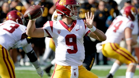 <p>               Southern California quarterback Kedon Slovis (9) throws the ball against Arizona State during the first half of an NCAA college football game, Saturday, Nov. 9, 2019, in Tempe, Ariz. (AP Photo/Matt York)             </p>