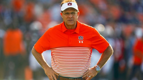 <p>               FILE - In this Sept. 14, 2019, file photo, Auburn head coach Gus Malzahn watches warmups before an NCAA college football game against Kent State, in Auburn, Ala. No. 13 Auburn plays two top-five playoff contenders in No. 5 Georgia (No. 4 CFP) and No. 4 Alabama (No. 5 CFP) at home to close the season, and depending upon how the Tigers do their coach may or may not be in danger of losing his job. (AP Photo/Butch Dill, Fle)             </p>