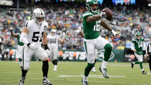 <p>               ADDS THAT THE TOUCHDOWN WAS LATER NULLIFIED BY PENALTY - New York Jets wide receiver Demaryius Thomas (18) runs away from Oakland Raiders inside linebacker Will Compton (51) for a touchdown during the first half of an NFL football game Sunday, Nov. 24, 2019, in East Rutherford, N.J. The touchdown was later nullified by penalty. (AP Photo/Adam Hunger)             </p>