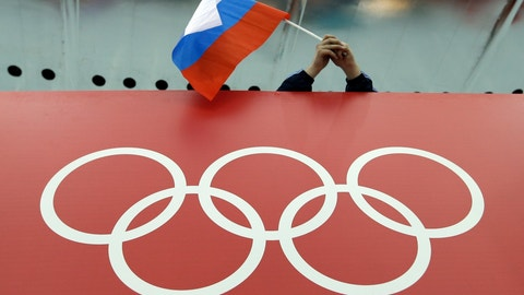 <p>               FILE - In this Feb. 18, 2014, file photo, a Russian flag is held above the Olympic Rings at Adler Arena Skating Center during the Winter Olympics in Sochi, Russia.  A World Anti-Doping Agency (WADA) panel on Monday Nov. 25, 2019, has recommended Russian athletes be forced to compete as neutrals at the 2020 Olympics in Tokyo and other major upcoming events. (AP Photo/David J. Phillip, File)             </p>