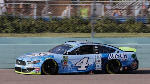 <p>               Kevin Harvick drives on the front stretch during a NASCAR Cup Series auto race on Sunday, Nov. 17, 2019, at Homestead-Miami Speedway in Homestead, Fla. Harvick is one of four drivers running for the championship. (AP Photo/Terry Renna)             </p>