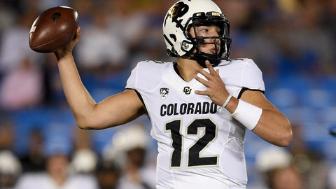 <p>               Colorado quarterback Steven Montez throws a pass during the first half of an NCAA college football game against UCLA in Los Angeles, Saturday, Nov. 2, 2019. (AP Photo/Kelvin Kuo)             </p>