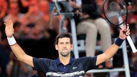 <p>               Serbia's Novak Djokovic celebrates after defeating Greece's Stefanos Tsitsipas in a quarterfinal match of the Paris Masters tennis tournament Friday, Nov. 1, 2019 in Paris. (AP Photo/Michel Euler)             </p>