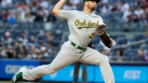 <p>               FILE - In this May 11, 2018, file photo, Oakland Athletics' Kendall Graveman delivers a pitch during the first inning of the team's baseball game against the New York Yankees in New York. The Mariners have added another option for their rotation by agreeing to a one-year contract with Kendall Graveman that guarantees the right-hander $2 million as he returns from Tommy John surgery. (AP Photo/Frank Franklin II, File)             </p>