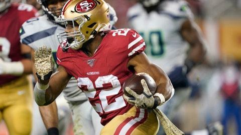 <p>               San Francisco 49ers running back Matt Breida (22) runs against the Seattle Seahawks during the first half of an NFL football game in Santa Clara, Calif., Monday, Nov. 11, 2019. (AP Photo/Tony Avelar)             </p>