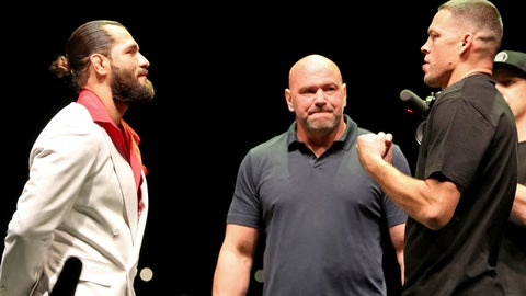 <p>               FILE - In this Sept. 19, 2019, file photo, Jorge Masvidal, left, squares off with Nate Diaz as UFC President Dana White looks on at a news conference for the UFC 244 mixed martial arts event in New York. Diaz or Masvidal will step out of the Garden on Saturday, Nov. 2, the undisputed champ of UFC 244's crudest named title _ the Baddest Mother (censored!) in the game.  (AP Photo/Gregory Payan, File)             </p>