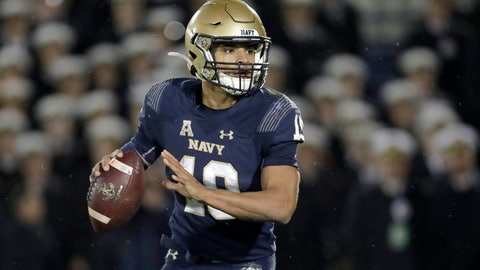 <p>               Navy quarterback Malcolm Perry looks to pass against SMU during the second half of an NCAA college football game, Saturday, Nov. 23, 2019, in Annapolis, Md. Navy won 35-28. (AP Photo/Julio Cortez)             </p>