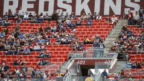 <p>               FILE - In this Oct. 6, 2019, file photo, fans watch play between the Washington Redskins and the New England Patriots during the second half of an NFL football game, in Landover, Md. There were more than 20,000 empty seats for the Redskins' last home game, and when many of them have been filled this season, it's with fans of the visiting team. It could be even emptier Sunday when the 1-9 Redskins host the 3-6-1 Detroit Lions. (AP Photo/Patrick Semansky, File)             </p>
