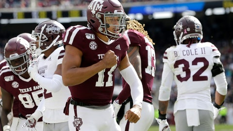 <p>               Texas A&M quarterback Kellen Mond (11) reacts after scoring a touchdown against Mississippi State during the first quarter of an NCAA college football game, Saturday, Oct. 26, 2019, in College Station, Texas. (AP Photo/Sam Craft)             </p>