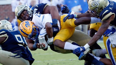 <p>               Pittsburgh running back Vincent Davis (22) is tackled by Georgia Tech defensive lineman Djimon Brooks (86) during the first half of an NCAA college football game, Saturday, Nov. 2, 2019, in Atlanta. (AP Photo/John Bazemore)             </p>