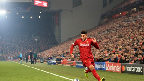 <p>               Liverpool's Alex Oxlade-Chamberlain runs with the ball during the Champions League group E soccer match between Liverpool and Genk at Anfield Stadium, Liverpool, England, Tuesday, Nov. 5, 2019. (AP Photo/Jon Super)             </p>