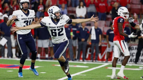 <p>               Utah State's Dominik Eberle watches his game-winning field goal against Fresno State during an NCAA college football game in Fresno, Calif., Saturday, Nov. 9, 2019. (AP Photo/Gary Kazanjian)             </p>
