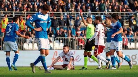 <p>               Referee Marco Guida shows a red card to Brescia's Ales Mateju, left,  during the Serie A soccer match between Brescia and Torino at the Mario Rigamonti Stadium in Brescia, Italy, Saturday, Nov. 9, 2019. (Filippo Venezia/ANSA via AP)             </p>