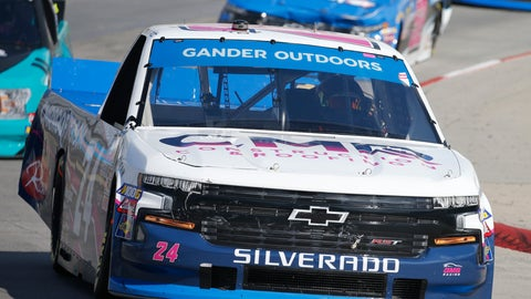 <p>               FILE - In this Oct. 26, 2019, file photo, Brett Moffitt (24) competes during a NASCAR Truck Series race at Martinsville Speedway, in Martinsville, Va. The NASCAR Truck Series has its championship race Friday, Nov. 15, 2019, at Homestead-Miami Speedway. Brett Moffitt, Matt Crafton and Stewart Friesen join Ross Chastain in the championship field. Moffitt is the defending series champion and will try to become the first repeat winner since Crafton in 2013 and 2014. (AP Photo/Steve Helber, File)             </p>