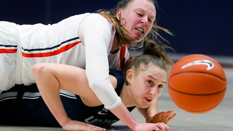 <p>               Connecticut's Anna Makurat, below, and Dayton's Erin Whalen, above, scramble for a loose ball during the first half of an NCAA college basketball game, Tuesday, Nov. 26, 2019, in Dayton, Ohio. (AP Photo/John Minchillo)             </p>