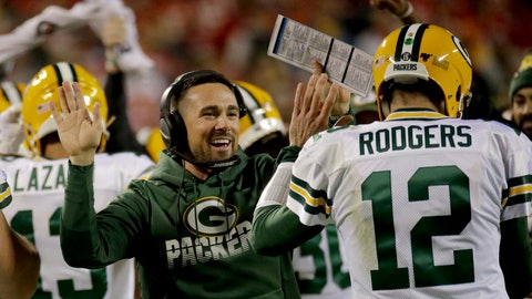 <p>               FILE - In this Sunday, Oct. 27, 2019, file photo, Green Bay Packers head coach Matt LaFleur celebrates with quarterback Aaron Rodgers (12) after a touchdown during the first half of an NFL football game against the Kansas City Chiefs, in Kansas City, Mo. Being a rookie head coach in the NFL is challenging enough, and also calling plays for the offense only increases the difficulty. Having Rodgers has helped ease the growing pains for LaFleur. (AP Photo/Charlie Riedel, File)             </p>