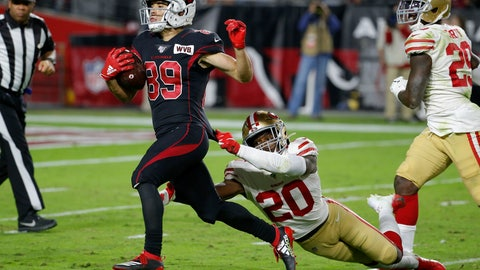 <p>               Arizona Cardinals wide receiver Andy Isabella (89) runs for touchdown after the catch as San Francisco 49ers cornerback Jimmie Ward (20) pursues during the second half of an NFL football game, Thursday, Oct. 31, 2019, in Glendale, Ariz. (AP Photo/Rick Scuteri)             </p>