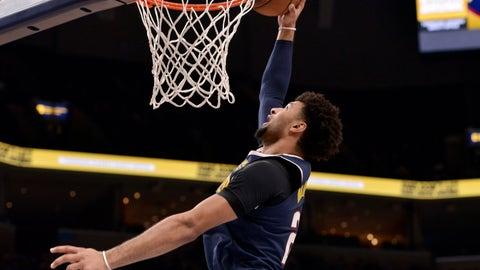 <p>               Denver Nuggets guard Jamal Murray dunks in the first half of an NBA basketball game against the Memphis Grizzlies, Sunday, Nov. 17, 2019, in Memphis, Tenn. (AP Photo/Brandon Dill)             </p>