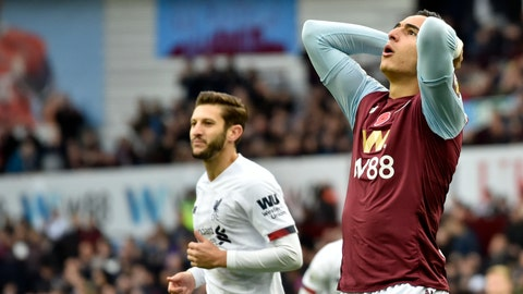 <p>               Aston Villa's Anwar El Ghazi reacts after missing a chance to score during the English Premier League soccer match between Aston Villa and Liverpool at Villa Park in Birmingham, England, Saturday, Nov. 2, 2019. (AP Photo/Rui Vieira)             </p>