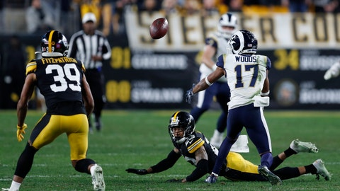 <p>               Pittsburgh Steelers free safety Minkah Fitzpatrick (39) prepares to intercept a pass intended for Los Angeles Rams wide receiver Robert Woods (17) during the second half of an NFL football game in Pittsburgh, Sunday, Nov. 10, 2019. (AP Photo/Keith Srakocic)             </p>