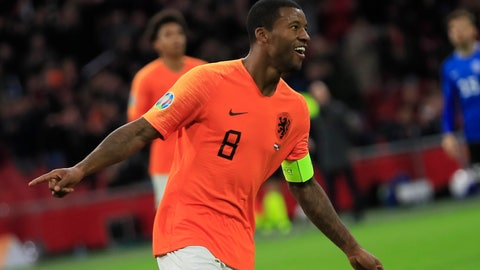 <p>               Netherlands' Georginio Wijnaldum celebrates scoring his side's fourth goal during the Euro 2020 group C qualifying soccer match between The Netherlands and Estonia at the Johan Cruyff ArenA in Amsterdam, Netherlands, Tuesday, Nov. 19, 2019. (AP Photo/Peter Dejong)             </p>