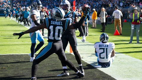 <p>               Carolina Panthers wide receiver Curtis Samuel (10) celebrates his touchdown against the Tennessee Titans as cornerback Malcolm Butler (21) sits on the turf during the first half of an NFL football game in Charlotte, N.C., Sunday, Nov. 3, 2019. (AP Photo/Mike McCarn)             </p>