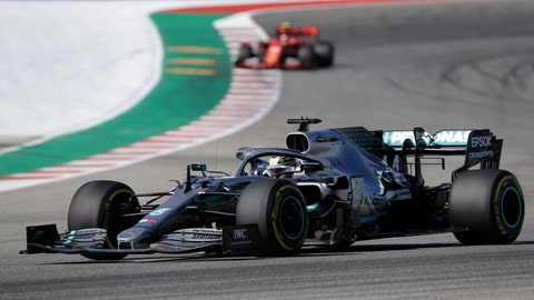<p>               Mercedes driver Lewis Hamilton, of Britain, races during the Formula One U.S. Grand Prix auto race at the Circuit of the Americas, Sunday, Nov. 3, 2019, in Austin, Texas. (AP Photo/Chuck Burton)             </p>