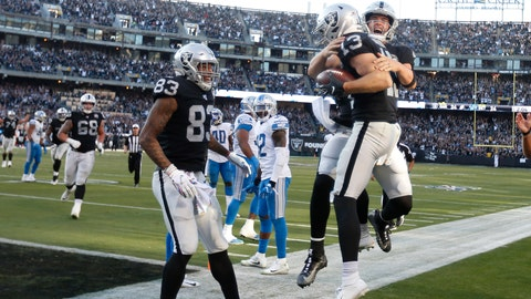 <p>               Oakland Raiders wide receiver Hunter Renfrow (13) celebrates with quarterback Derek Carr, right, after they connected on a touchdown pass against the Detroit Lions during the second half of an NFL football game in Oakland, Calif., Sunday, Nov. 3, 2019. (AP Photo/D. Ross Cameron)             </p>