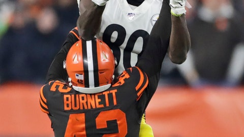 <p>               Cleveland Browns strong safety Morgan Burnett (42) breaks up a pass intended for Pittsburgh Steelers wide receiver Johnny Holton (80) during the first half of an NFL football game, Thursday, Nov. 14, 2019, in Cleveland. (AP Photo/Ron Schwane)             </p>