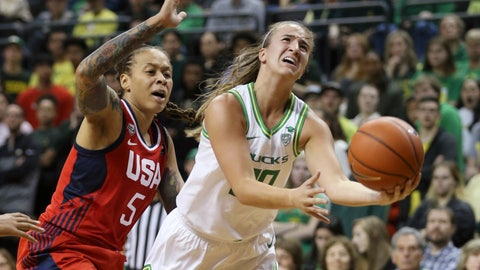 <p>               Oregon's Sabrina Ionescu, right, goes up for a shot ahead of United States' Seimone Augustus, left, during the second quarter of an exhibition basketball game in Eugene, Ore., Saturday, Nov. 9, 2019. (AP Photo/Chris Pietsch)             </p>