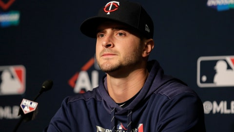 <p>               FILE - In this Saturday, Oct. 5, 2019, file photo, Minnesota Twins starting pitcher Jake Odorizzi talks to reporters during a baseball news conference at Yankee Stadium in New York. Odorizzi accepted Minnesota's one-year qualifying offer to put him under contract for 2020, after his first career All-Star game appearance. (AP Photo/Seth Wenig, File)             </p>