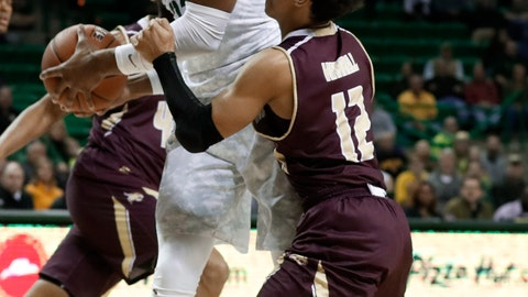 <p>               Baylor forward Freddie Gillespie (33) grabs a defensive rebound in front of Texas State guard Mason Harrell (12) during the first half of an NCAA college basketball game in Waco, Texas, Friday, Nov. 15, 2019. (AP Photo/Tony Gutierrez)             </p>