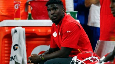 <p>               FILE - In this Sept. 29, 2019, file photo, Kansas City Chiefs' Tyreek Hill watches from the bench during an NFL football game against the Detroit Lions in Detroit. It would be an understatement to the greatest degree to say that Chiefs wide receiver has had an eventful year, one marked by the highest of highs and the lowest of lows. Now, he's hoping to return from a hamstring injury in time to help Kansas City win a fourth consecutive AFC West championship. (AP Photo/Paul Sancya, File)             </p>
