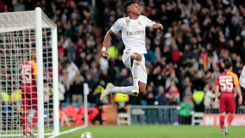 <p>               Real Madrid's Rodrygo celebrates after scoring his side's second goal during a Champions League group A soccer match between Real Madrid and Galatasaray at the Santiago Bernabeu stadium in Madrid, Wednesday, Nov. 6, 2019. (AP Photo/Bernat Armangue)             </p>