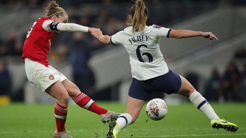 <p>               Arsenal's Kim Little, left, scores her sides first goal of the match against Tottenham Hotspur, during their Women's Super League soccer match at the Tottenham Hotspur Stadium in London, Sunday Nov. 17, 2019.  The match drew a record crowd of 38,262 for the competition on Sunday when Arsenal claimed a 2-0 victory at Tottenham. (Zac Goodwin/PA via AP)             </p>