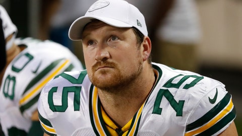 <p>               In this Sept. 5, 2019 photo Green Bay Packers offensive tackle Bryan Bulaga sits on the bench during an NFL football game against the Chicago Bears in Chicago. Packers coach Matt LaFleur isn't ready yet to rule out starting right tackle Bryan Bulaga for Sunday's game at the New York Giants. LaFleur said Wednesday, Nov. 27, 2019 that he would take the week to figure out the best combination of starting five for the offensive line. LaFleur said Bulaga, who left in the first quarter of Sunday night's 37-8 loss in San Francisco with a knee injury, could still be a part of the equation up front. (AP Photo/Charles Rex Arbogast)             </p>