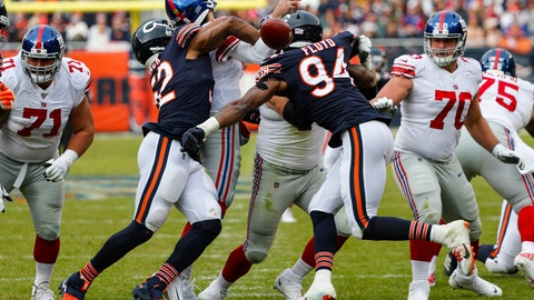 <p>               Chicago Bears outside linebacker Khalil Mack (52) forces a fumble by New York Giants quarterback Daniel Jones (8) during the second half of an NFL football game in Chicago, Sunday, Nov. 24, 2019. (AP Photo/Charles Rex Arbogast)             </p>