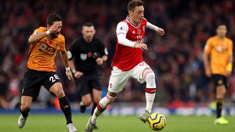 <p>               Arsenal's Mesut Ozil in action during the English Premier League soccer match against Wolverhampton Wanderers at The Emirates Stadium, London, Saturday Nov. 2, 2019. (Paul Harding/PA via AP)             </p>