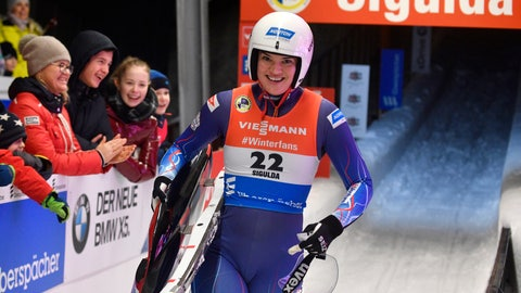 <p>               FILE - In this Saturday, Jan. 12, 2019 file photo, Summer Britcher of United States smiles after she placed third of a women's race at the Luge World Cup event in Sigulda, Latvia. There's never been a World Cup luge overall champion from the U.S. That could change this winter. American veterans Summer Britcher and Emily Sweeney are two of the realistic candidates to emerge from this season with the World Cup title. (AP Photo/Roman Koksarov, File)             </p>