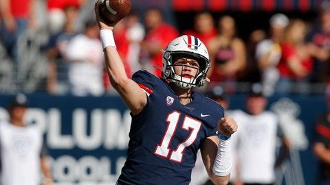 <p>               Arizona quarterback Grant Gunnell (17) throws the ball down field against Oregon State in the first half during an NCAA college football game, Saturday, Nov. 2, 2019, in Tucson, Ariz. (AP Photo/Rick Scuteri)             </p>