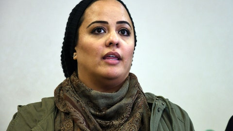 """<p>               Gazella Bensreiti speaks during a news conference in Denver, Wednesday, Nov. 13, 2019. The Westminster woman says an arena security guard told her to remove her hijab before she could enter to see her 8-year-old daughter sing the national anthem with her school choir at a Denver Nuggets basketball game on Nov. 5. Kroenke Sports & Entertainment, which owns the Pepsi Center, called the encounter a """"misunderstanding"""" and said the guard didn't recognize that Bensreiti was wearing a hijab. (AP Photo/Thomas Peipert)             </p>"""