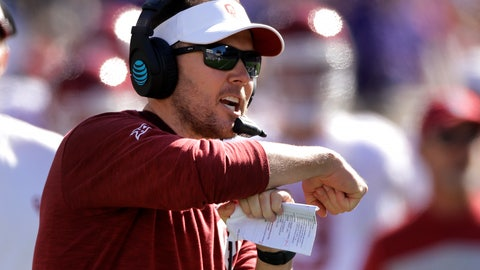 <p>               Oklahoma head coach Lincoln Riley calls for a time out during the second half of an NCAA college football game against Kansas State, Saturday, Oct. 26, 2019, in Manhattan, Kan. Kansas State won 48-41. (AP Photo/Charlie Riedel)             </p>