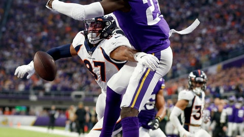 <p>               Minnesota Vikings safety Jayron Kearse, right, breaks up a pass intended for Denver Broncos tight end Noah Fant (87) in the end zone during the second half of an NFL football game, Sunday, Nov. 17, 2019, in Minneapolis. The Vikings won 27-23. (AP Photo/Bruce Kluckhohn)             </p>